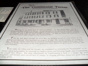 Yardley PA, Continental Tavern Menu