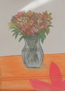 lilies in pastels and charcoal