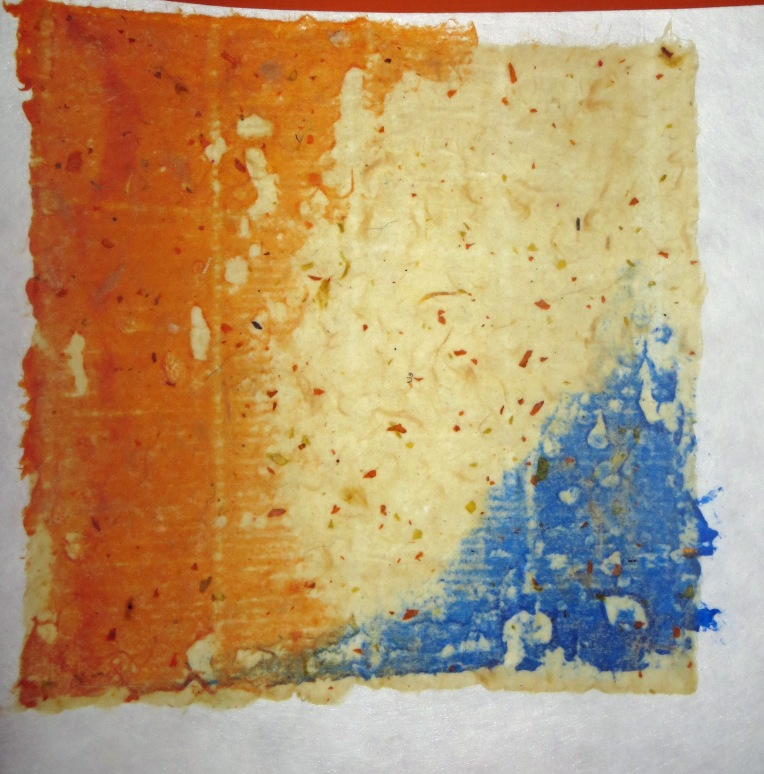 handmade paper with orange and blue color