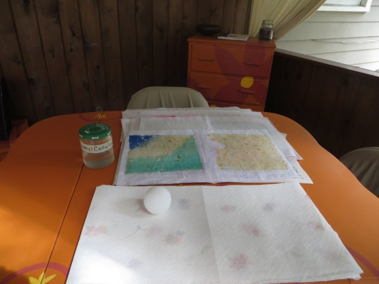 handmade paper and styrofoam ball