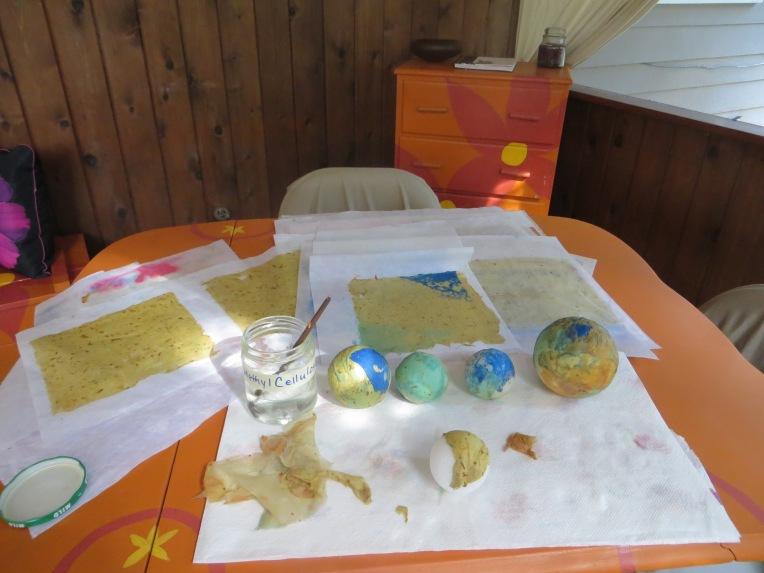 handmade paper covered styrofoam balls work in progress