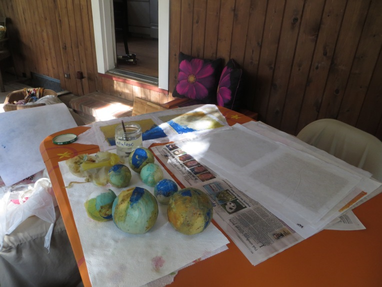 papermaking project on my porch