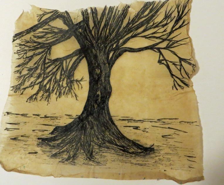 ink tree on handmade flax paper
