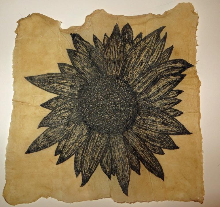 sunflower on flax handmade paper