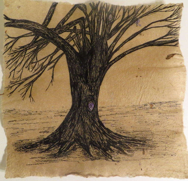 tree drawn in ink on flax paper