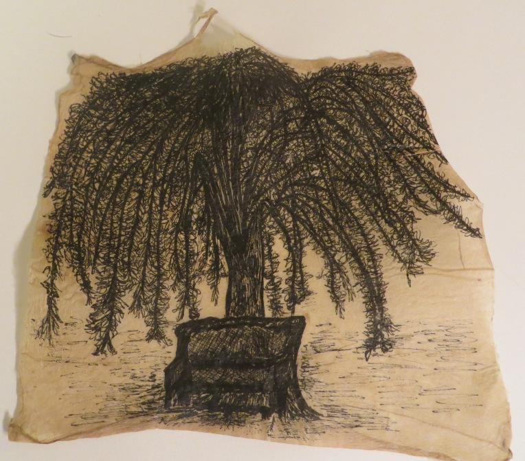 tree and bench_flax paper and ink drawing
