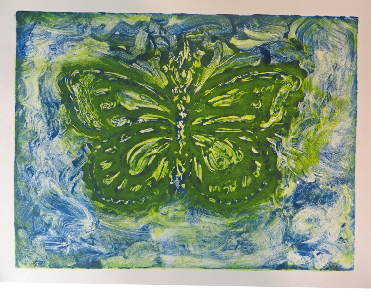 Monotype print making butterfly - greeen, blue and yellow