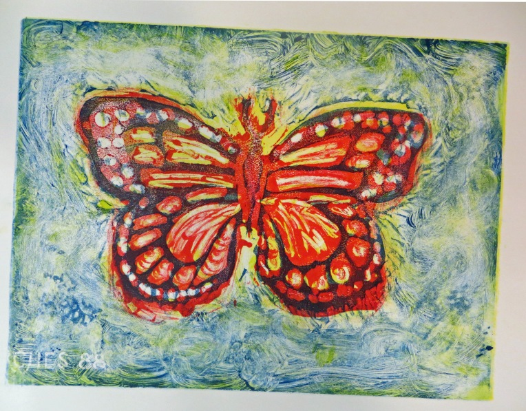 monotype print - butterfly