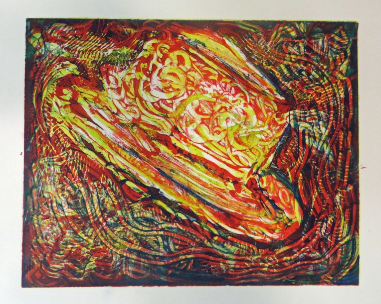 monotype print - beach hat