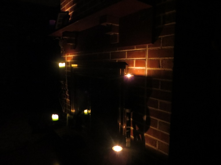 fireplace by candlelight during Hurricane Sandy