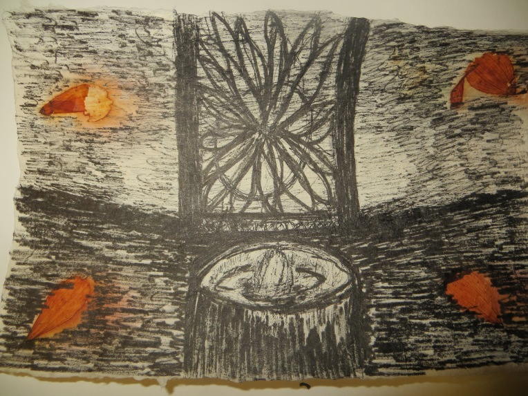 candle in the storm - ink drawing on handmade paper