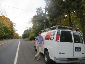 Christian in front of the PHS video van