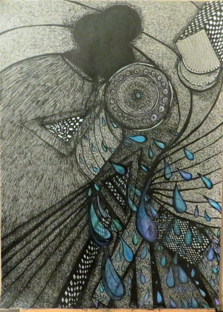 Abstract Drawing Ink and Water Color Pencil