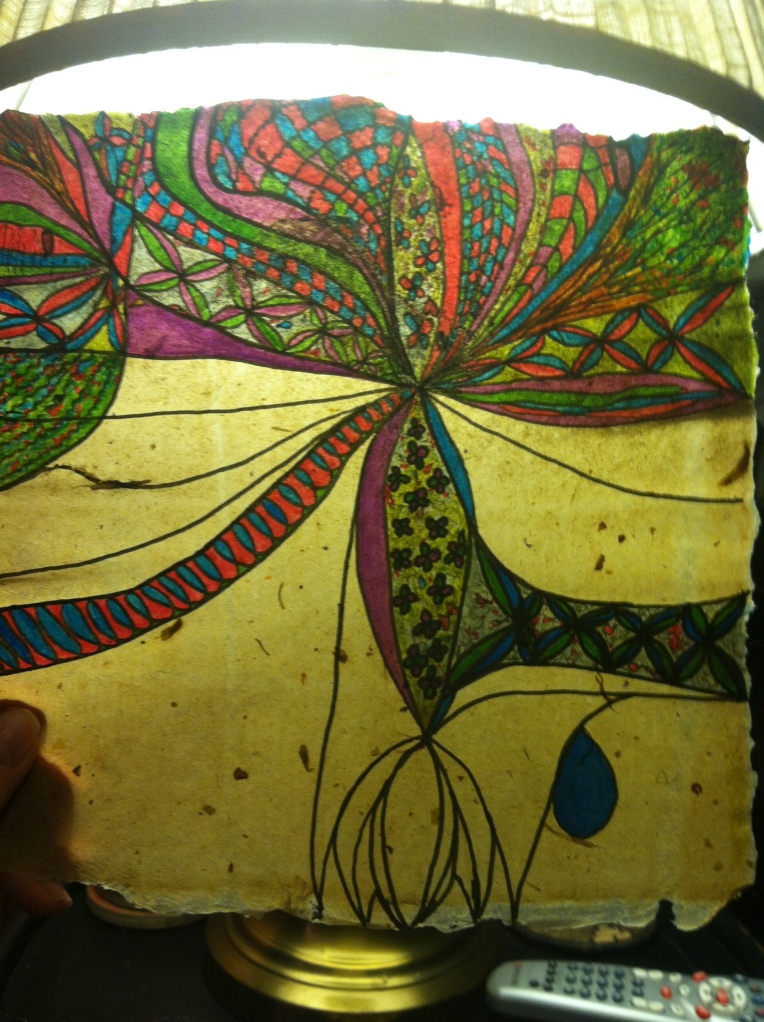 """""""Abstract Ink Drawing on Handmade paper - Ribbons of Joy_step 1"""