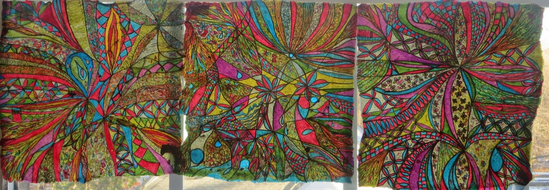 """Abstract ink drawings on handmade paper - embrace the unknown"""