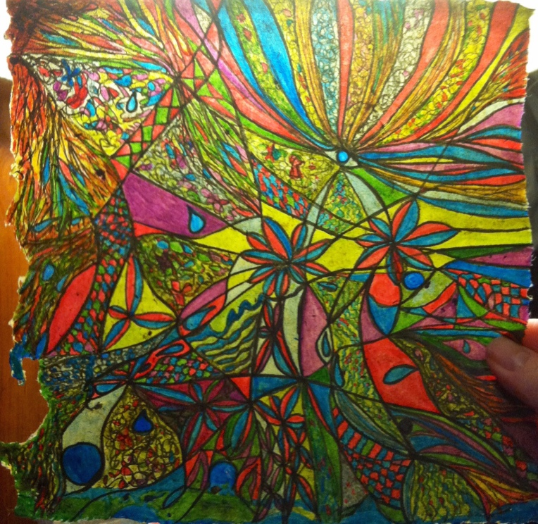 Colorful Ink Drawing on handmade flax paper