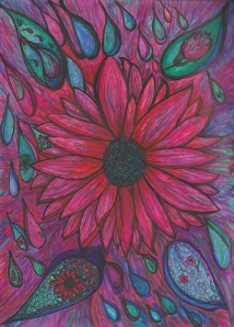 The Gift of Life - Ink Drawing of a Sunflower in Bright Inks