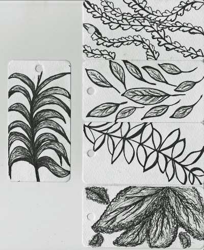 leaf inspired black and white doodles