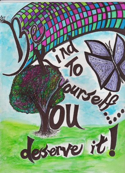Be Kind to yourself with color background