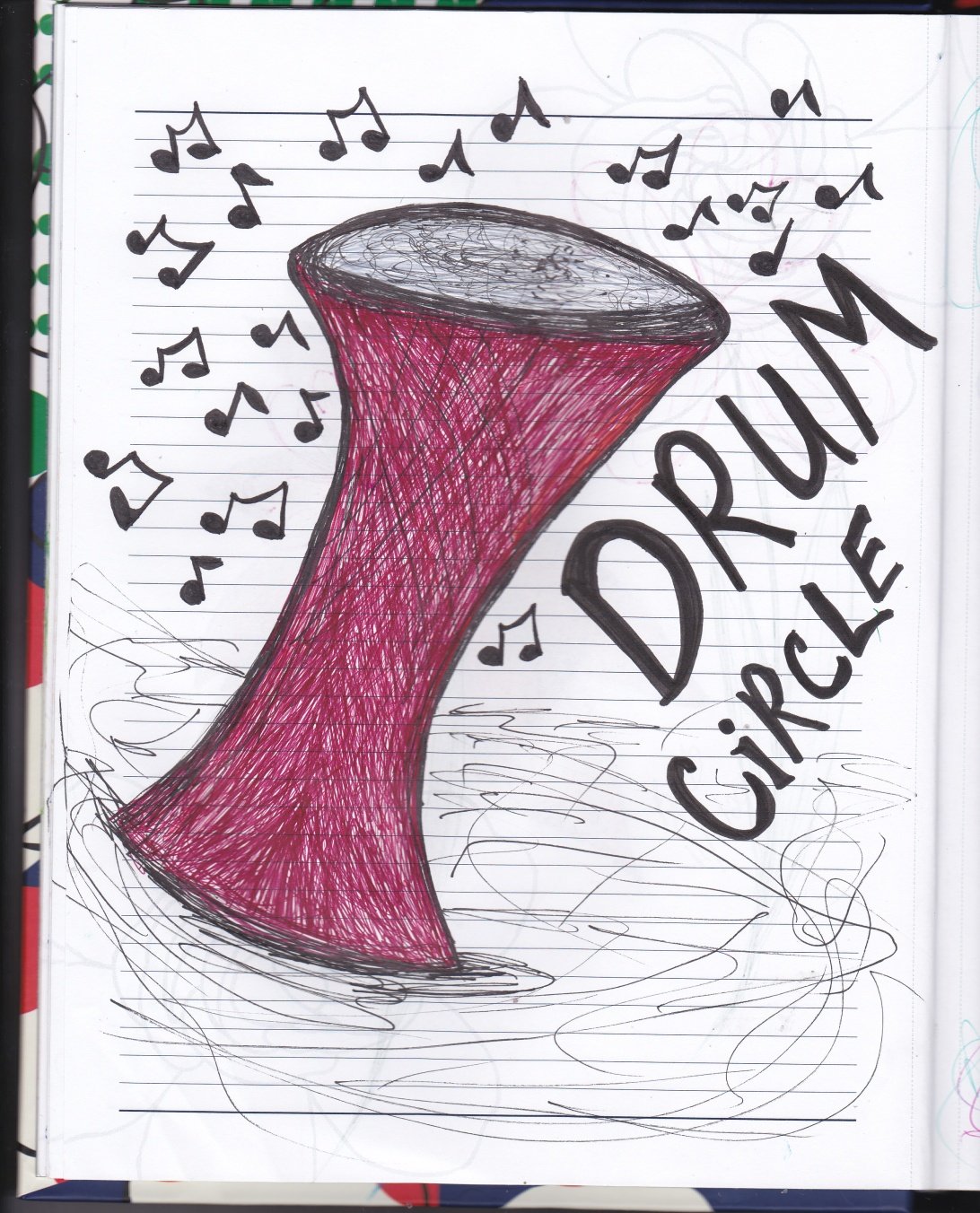 Drum with music notes - Ink Drawing