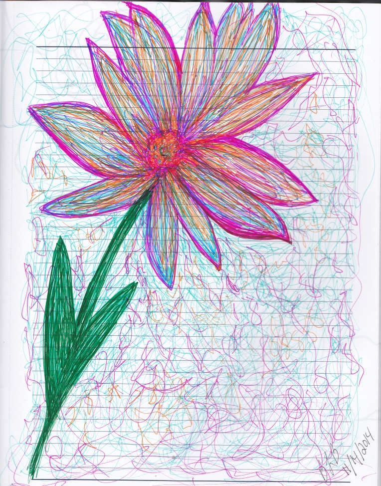 Ink Flower with multi-colored petals