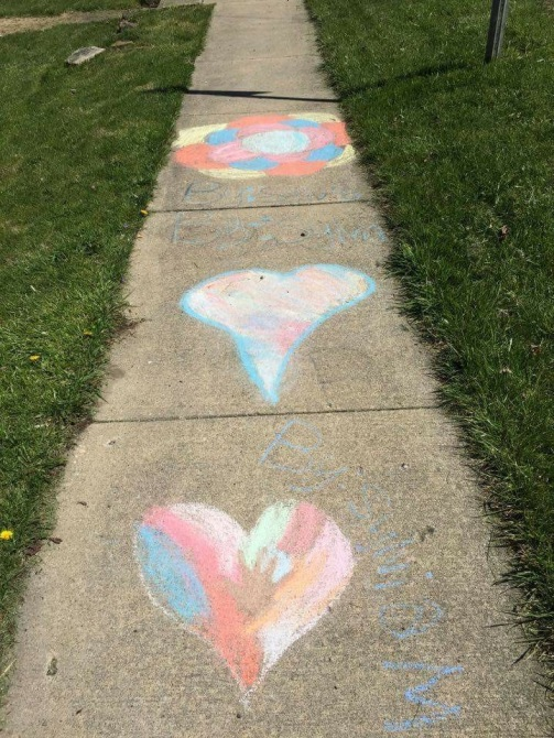 Sidewalk Chalk Heart and Circle Art