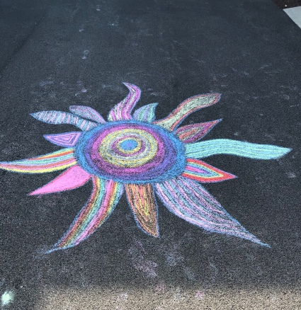 Sidewalk art sun